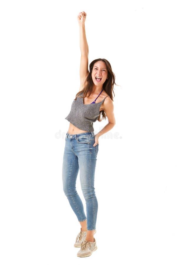 De volledige lichaams vrolijke jonge Aziatische vrouw met dient lucht in stock fotografie
