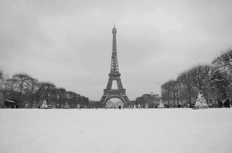 De volledige mening van het de torenlandschap van sneeuweiffel stock afbeelding