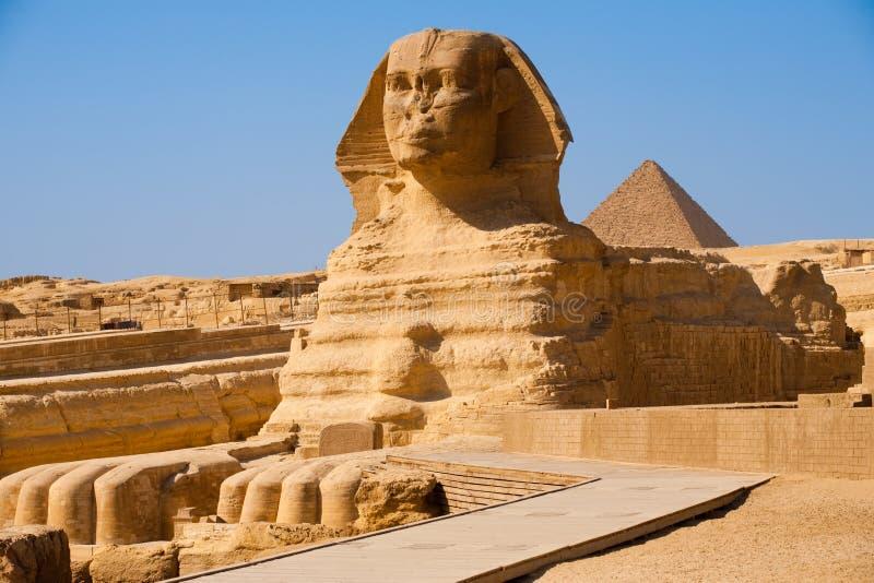 De volledige Piramide Giza Egypte van het Profiel van de Sfinx stock afbeeldingen