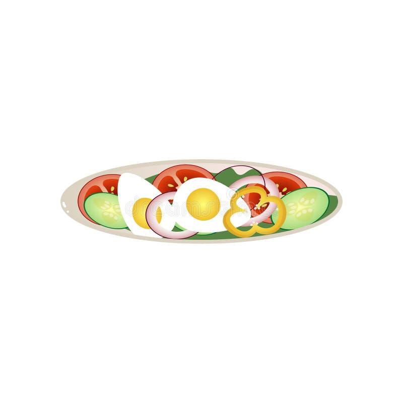 De volledige plaat van veganistschotel met cutted komkommer en tomaat vector illustratie
