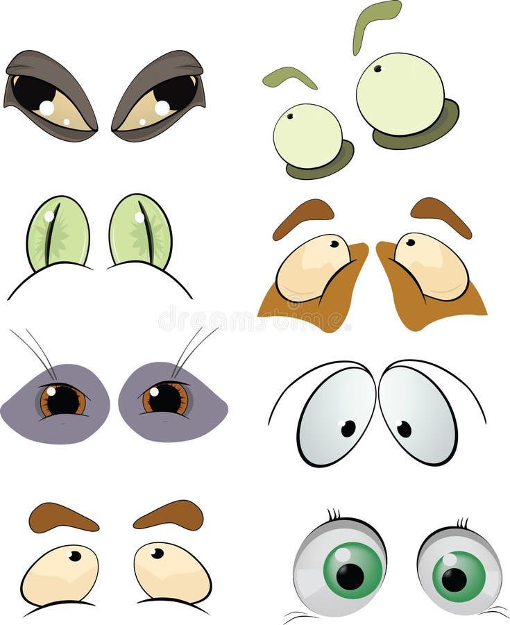 De volledige reeks getrokken ogen vector illustratie