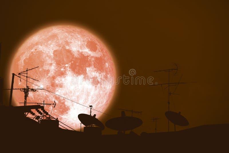 de volledige van het de planeet achtersilhouet van de bokmaan Satellietschotels op dak royalty-vrije stock foto