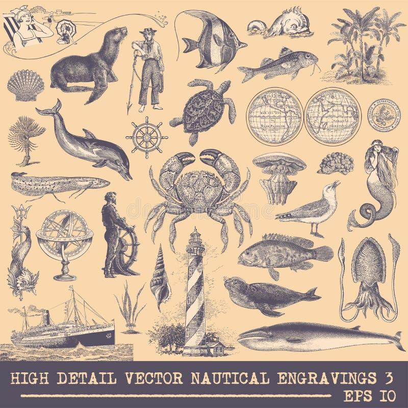 De volledige Vectorinzameling van Originele Zeevaartgravures plaatste 3 stock illustratie