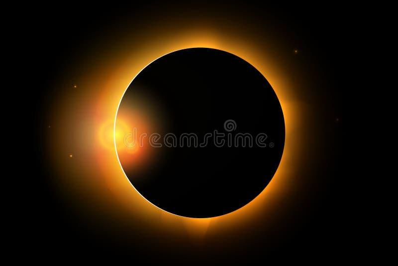 De volledige zonneillustratie van het verduisteringsfenomeen stock illustratie