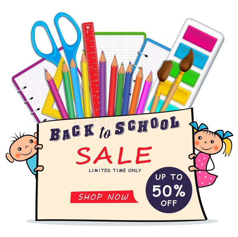 De volta à bandeira da Web da venda da escola com as crianças coloridas realísticas das fontes e do menino e da menina dos desenh ilustração stock