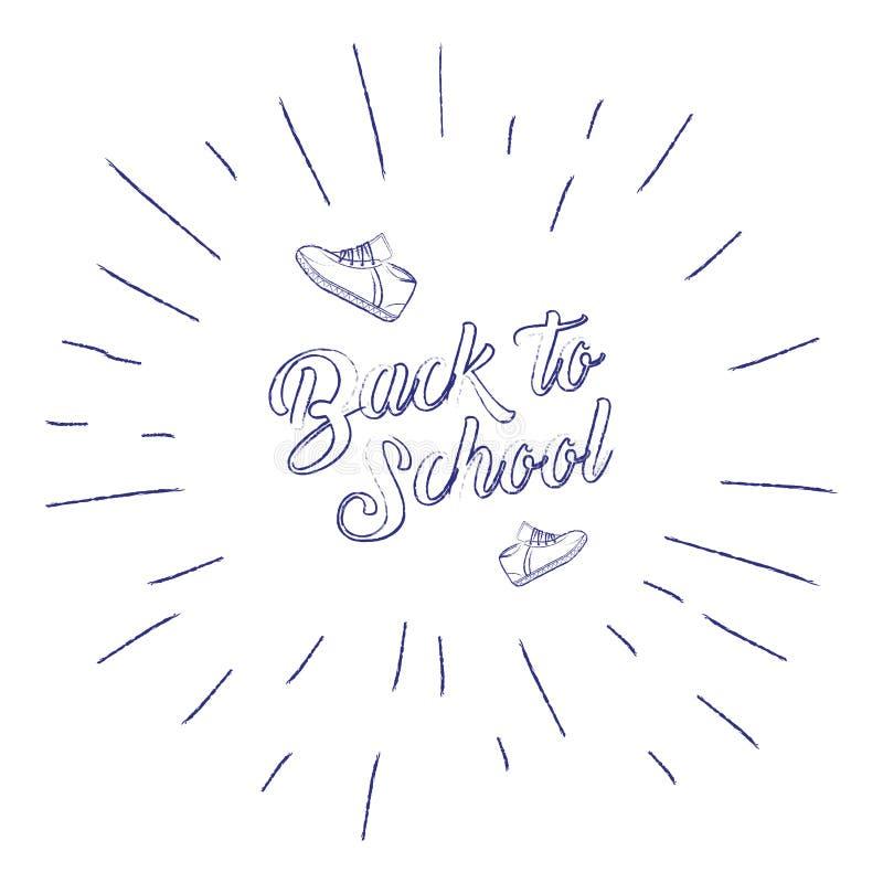 De volta à bandeira de escola com sapatilhas e rotulação escrita à mão do sunburst, frase caligráfica no fundo branco Vetor ilustração do vetor
