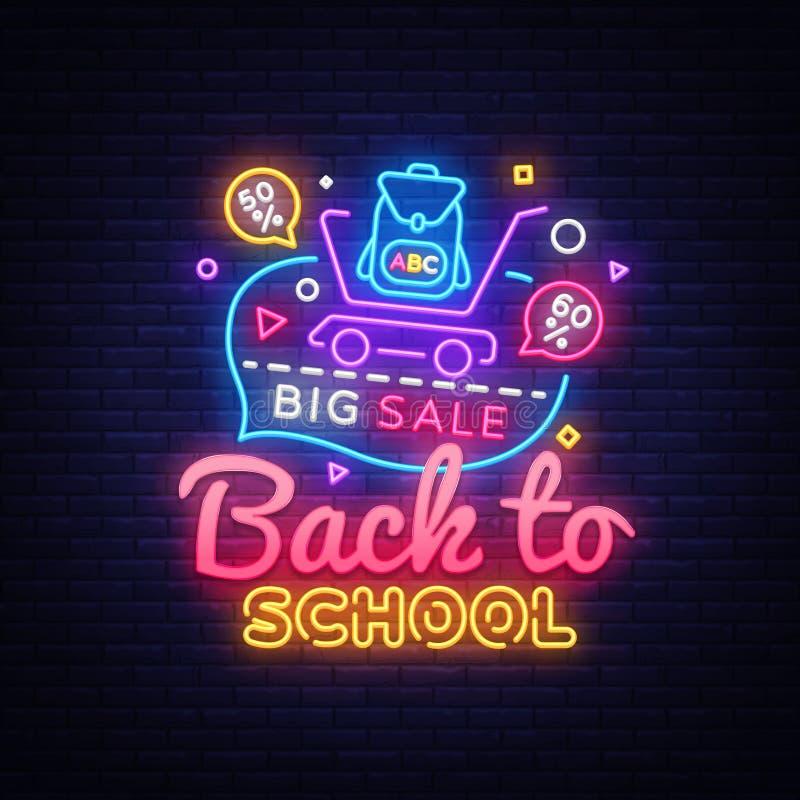 De volta à bandeira do conceito da escola no estilo de néon elegante, quadro indicador luminoso, propaganda noturna de descontos  ilustração royalty free