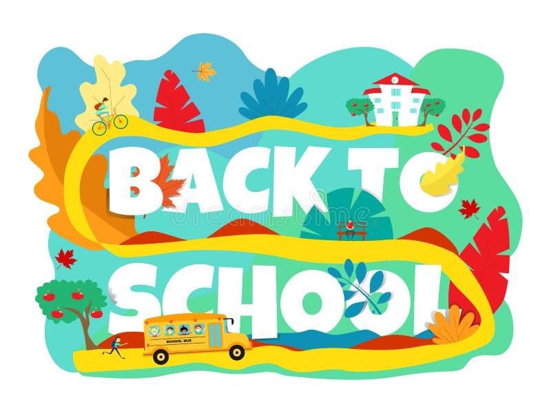 De volta à bandeira de escola com ônibus escolar, ciclista, estudante que corre em cores brilhantes ilustração do vetor