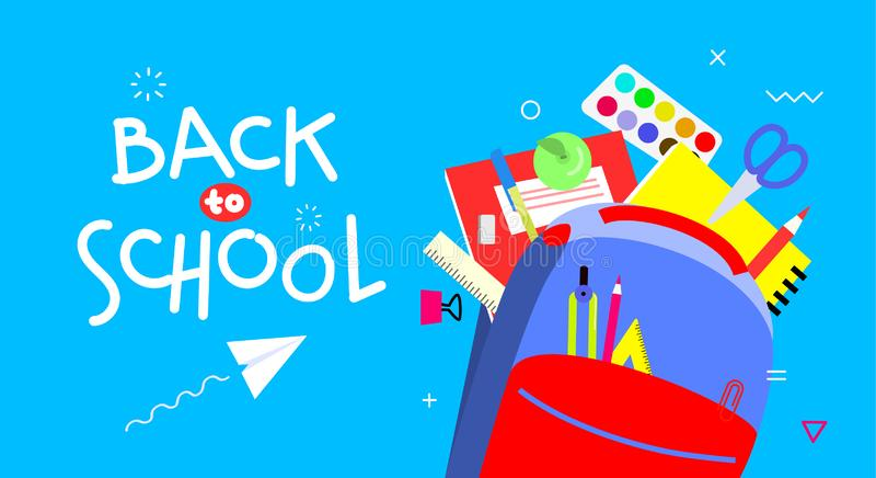 De volta à bandeira de escola, projeto liso, ilustração do vetor do molde do fundo com rotulação de citações Escola colorida imagens de stock royalty free