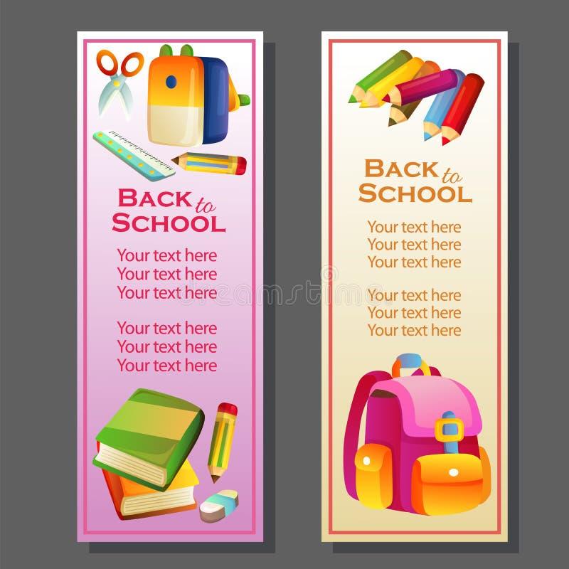 De volta à bandeira vertical da escola com estacionário ilustração do vetor