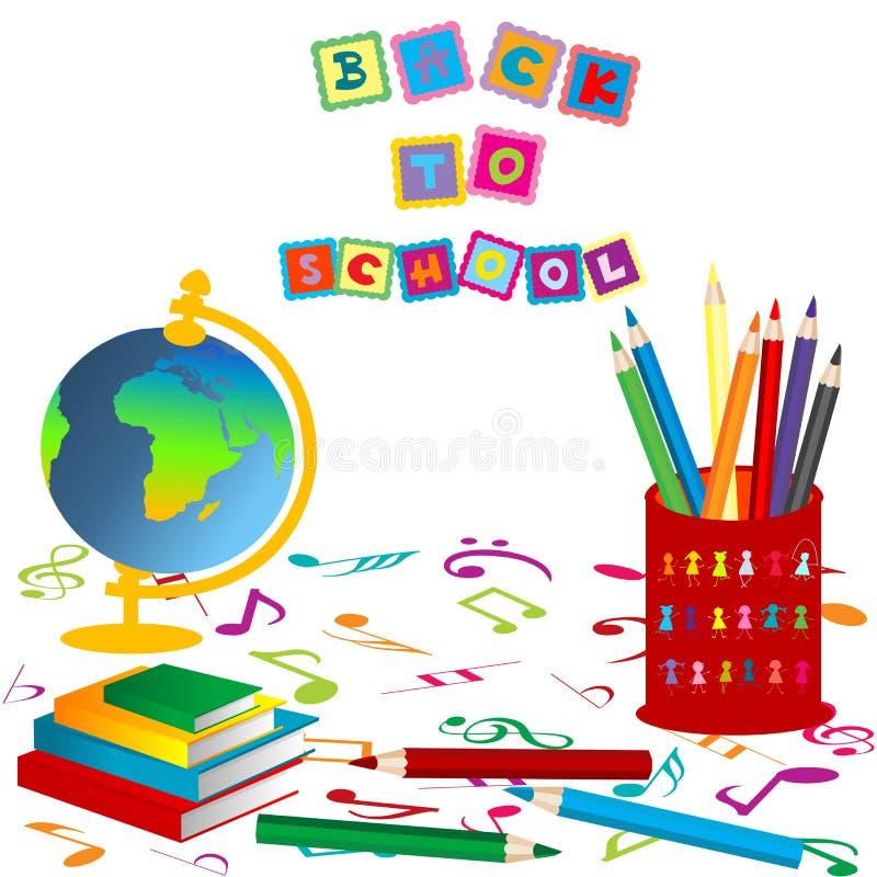 De volta à composição da escola ilustração stock