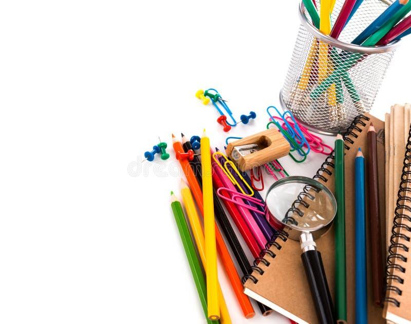 De volta à escola: Artigos de papelaria da escola fotografia de stock