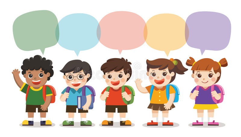De volta à escola, as crianças bonitos vão à escola com quadro de discurso ilustração do vetor