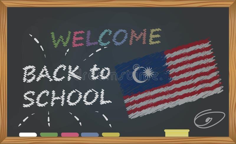De volta à escola com conceito da aprendizagem e da infância Bandeira com uma inscrição com a boa vinda do giz de volta à escola  ilustração stock