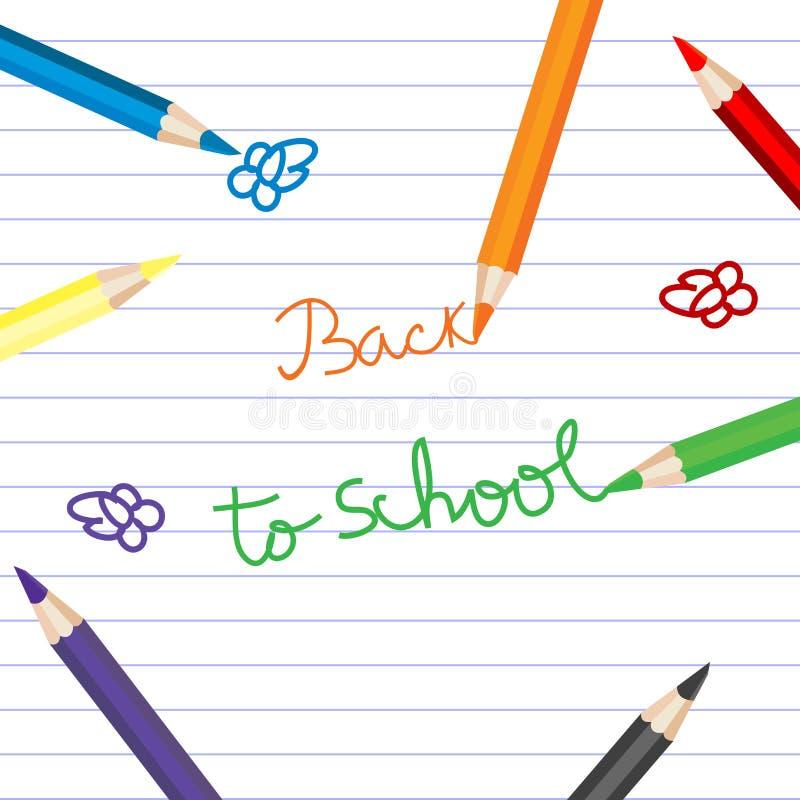 De volta à escola com os lápis coloridos sobre o papel do caderno ilustração do vetor