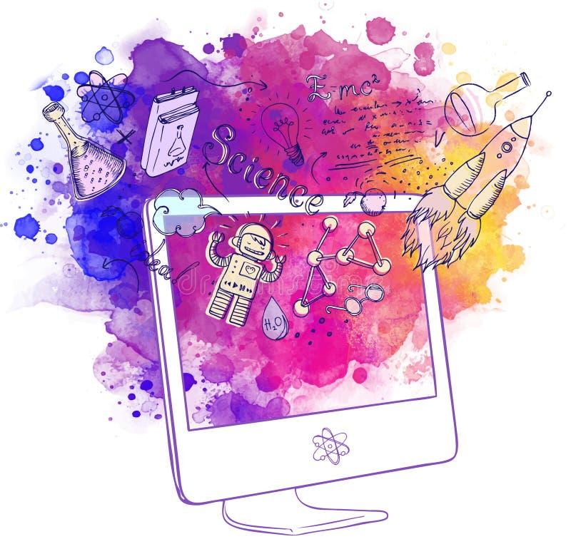 De volta à escola: conceito da tecnologia do ensino eletrónico com o computador com ilustração stock