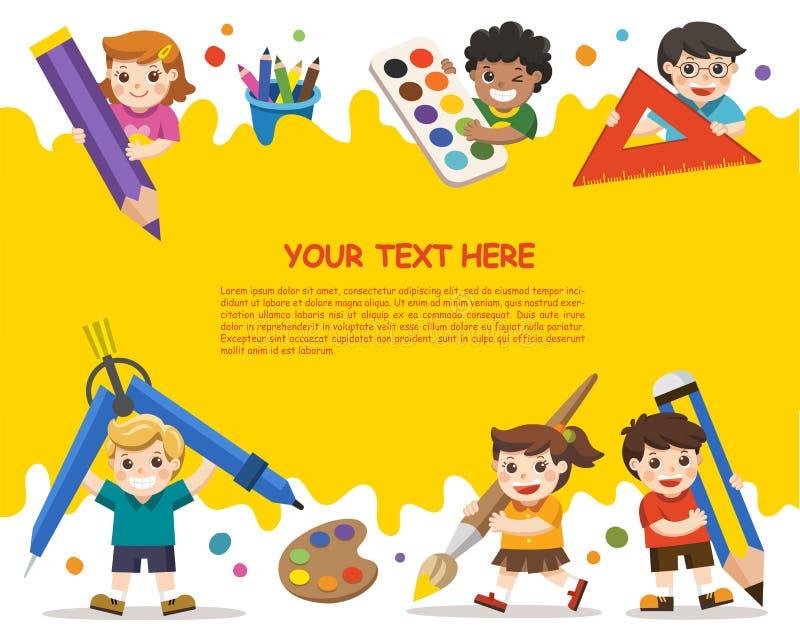 De volta à escola Crianças felizes da escola com elementos da escola Templ ilustração do vetor