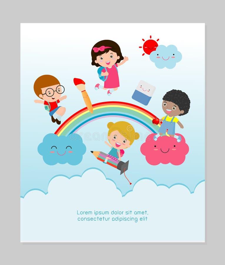 De volta à escola, a escola das crianças, conceito da educação das crianças, crianças vai à escola, molde para anunciar ilustração do vetor