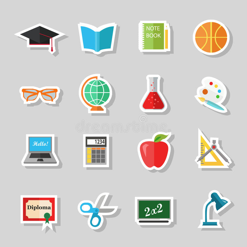 De volta à escola e aos ícones lisos da educação com computador, abra o livro, mesa, globo Elementos de papel das etiquetas ilustração do vetor