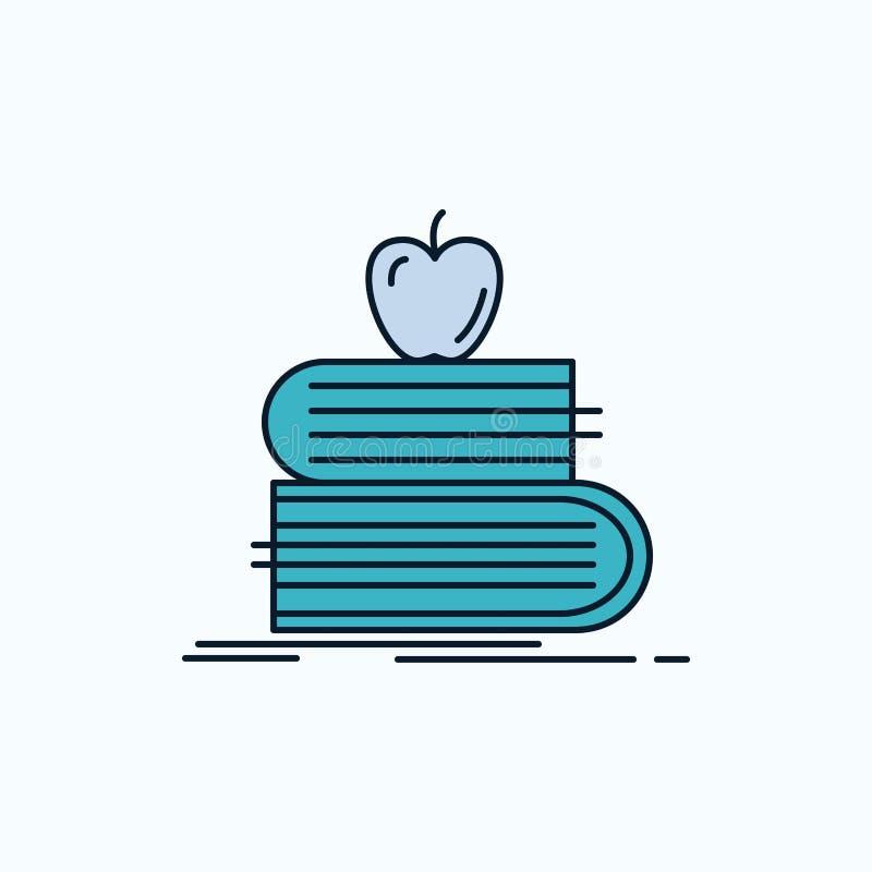 de volta à escola, escola, estudante, livros, ícone liso da maçã sinal e s?mbolos verdes e amarelos para o Web site e o appliatio ilustração do vetor