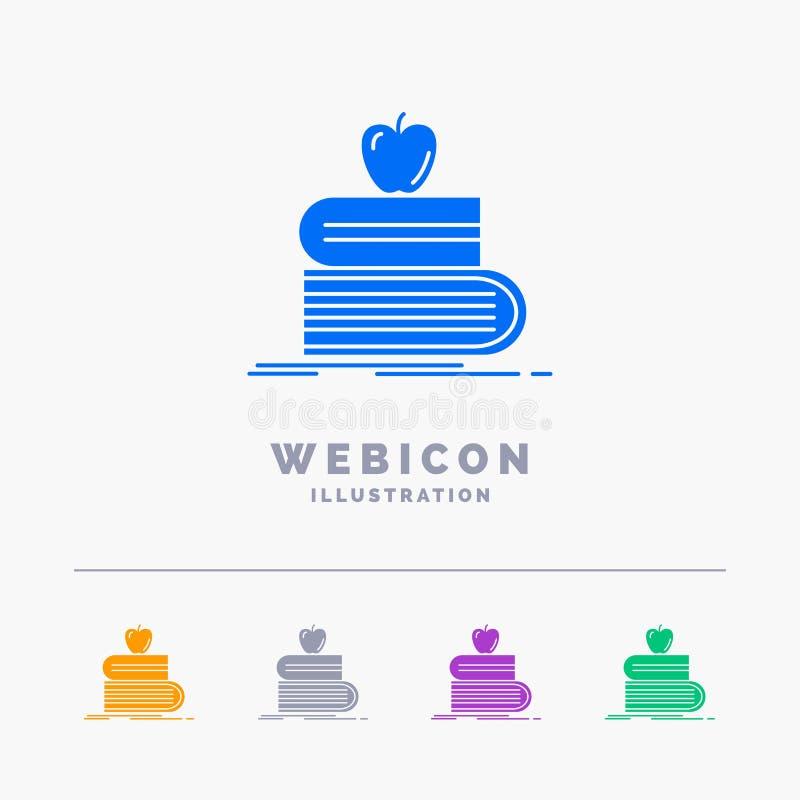 de volta à escola, escola, estudante, livros, molde do ícone da Web do Glyph da cor da maçã 5 isolado no branco Ilustra??o do vet ilustração royalty free