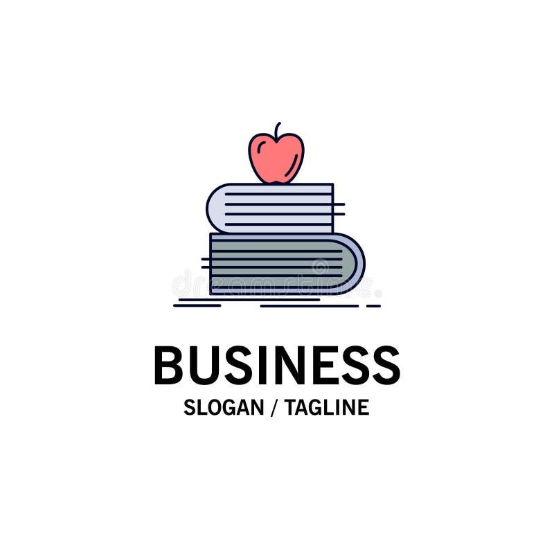 de volta à escola, escola, estudante, livros, vetor liso do ícone da cor da maçã ilustração stock