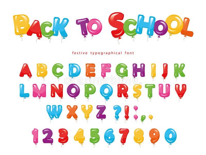 De volta à escola Fonte colorida do balão para crianças Letras e números engraçados de ABC Para a festa de anos, festa do bebê Is ilustração royalty free
