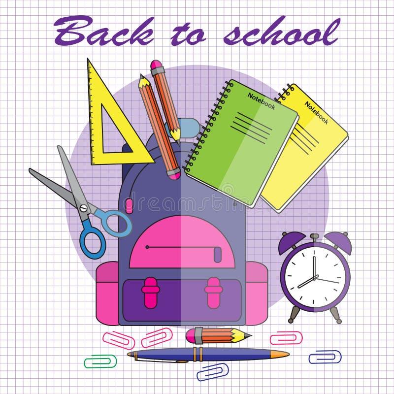 De volta à escola Ilustração do vetor no estilo liso Escola-trouxa ilustração stock
