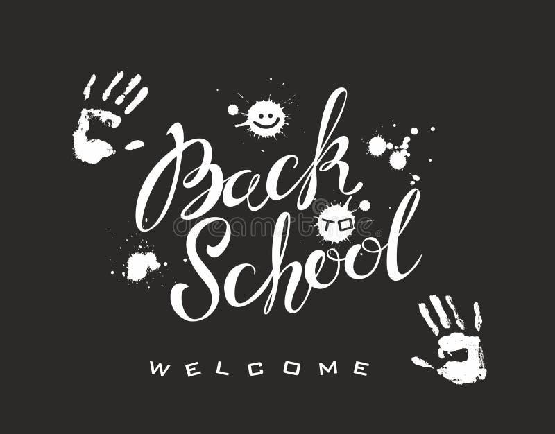De volta à escola lettering A inscrição na placa Pintura branca Handprints da pessoa Espirra manchas da pintura Bem-vindo ilustração stock
