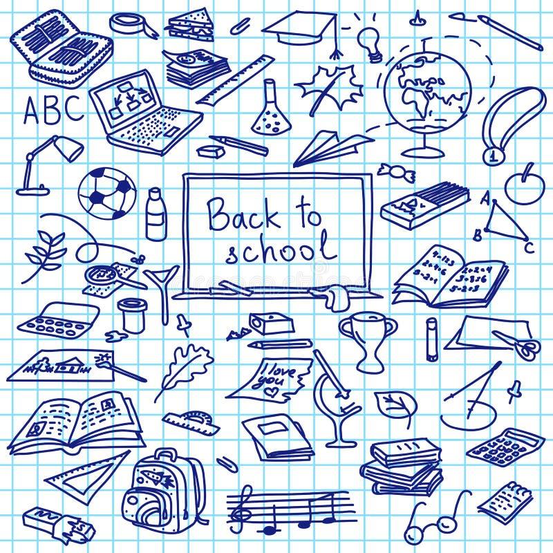 De volta à escola, mão silhuetas tiradas no papel esquadrado, esboço, garatuja, ilustração stock