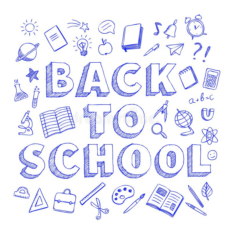De volta à escola o cartaz com pena azul rabisca o estilo no fundo branco ilustração stock