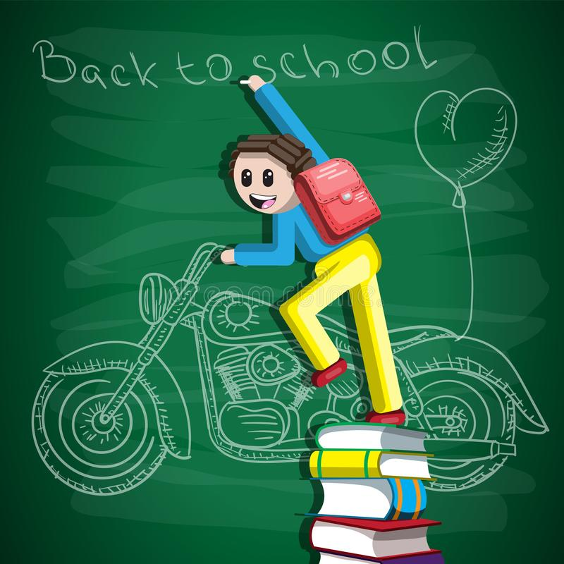 De volta à escola, o estudante está estando em uma pilha de livros com giz em sua mão, na placa pintou uma motocicleta e ilustração do vetor