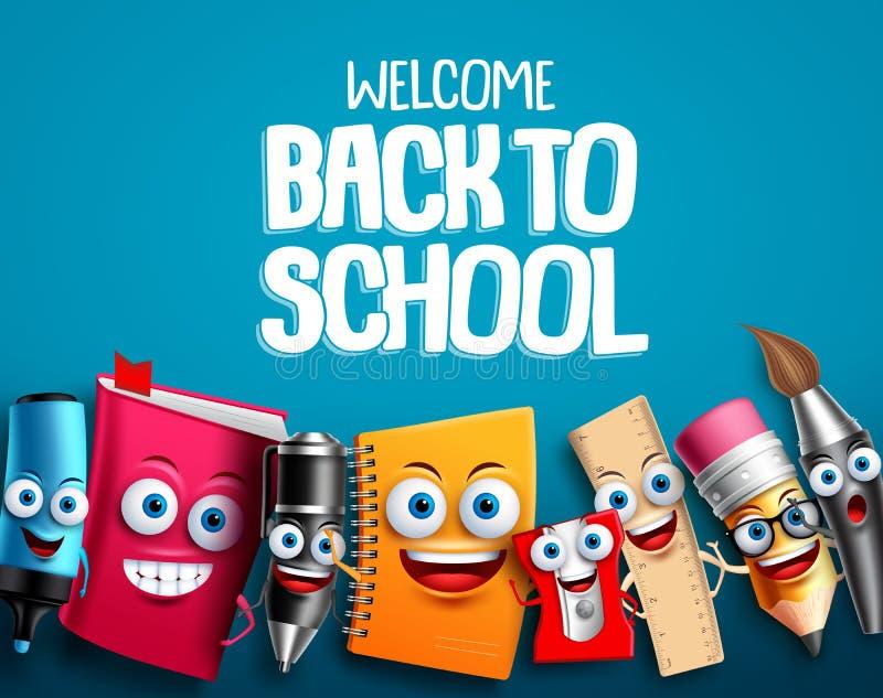 De volta à escola os caráteres ajustaram o projeto do fundo do vetor com desenhos animados educacionais engraçados coloridos ilustração royalty free
