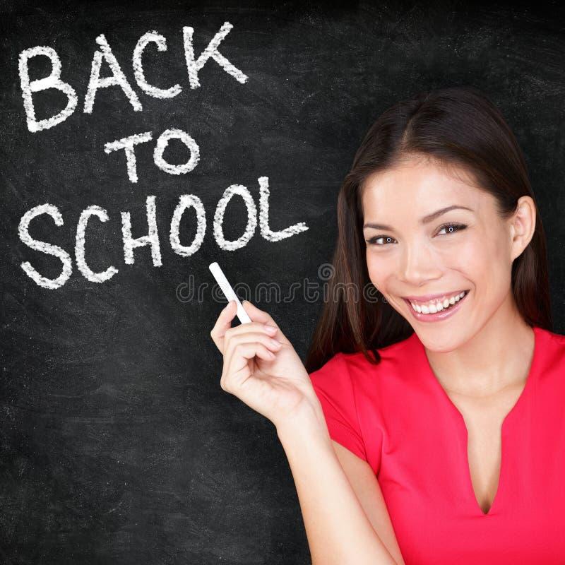 De volta à escola - quadro-negro de sorriso do professor da mulher fotos de stock royalty free