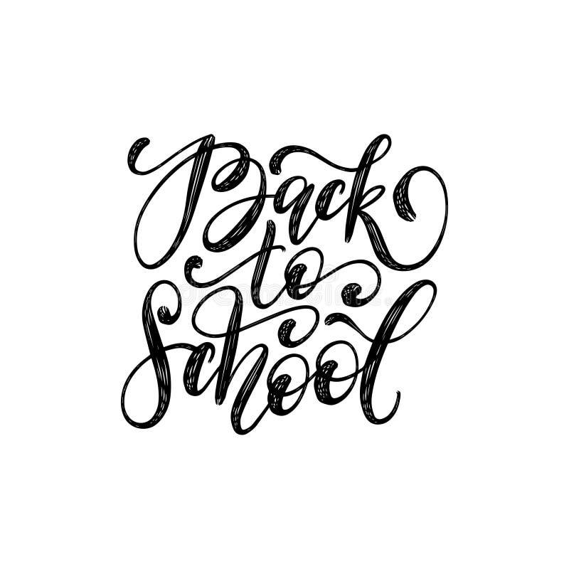 De volta à escola, rotulação da mão no fundo branco Vector a ilustração da caligrafia usada para o cartaz, cartão ilustração stock