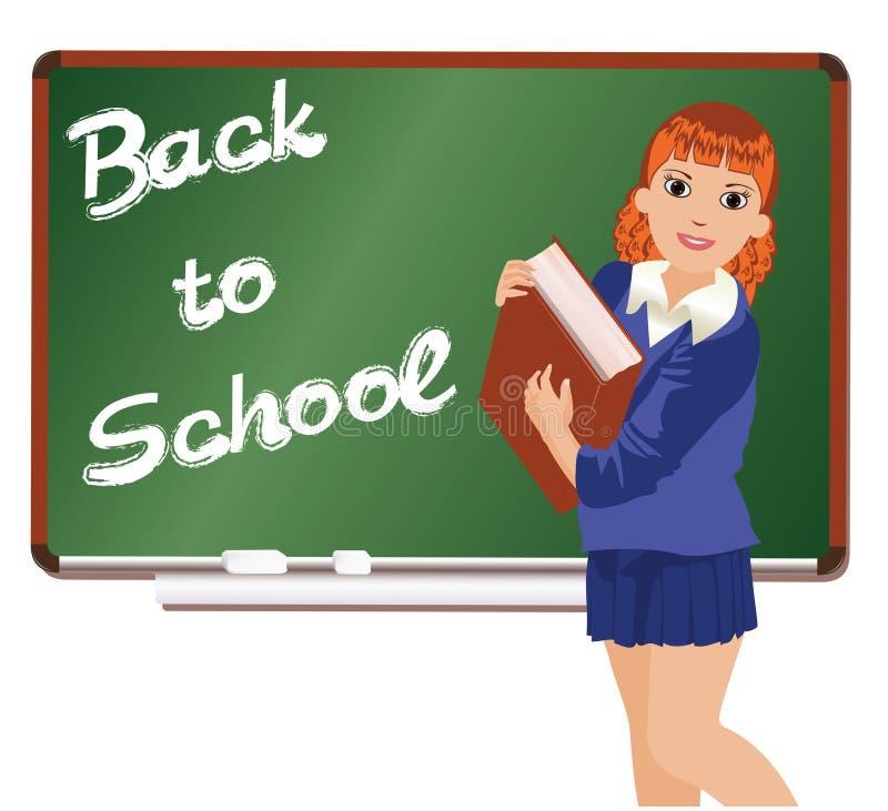 De volta à estudante pequena da escola com livro ilustração stock