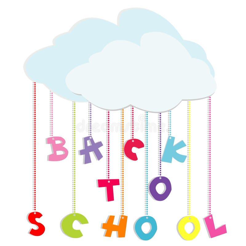 De volta à ilustração da escola com letras coloridas ilustração do vetor