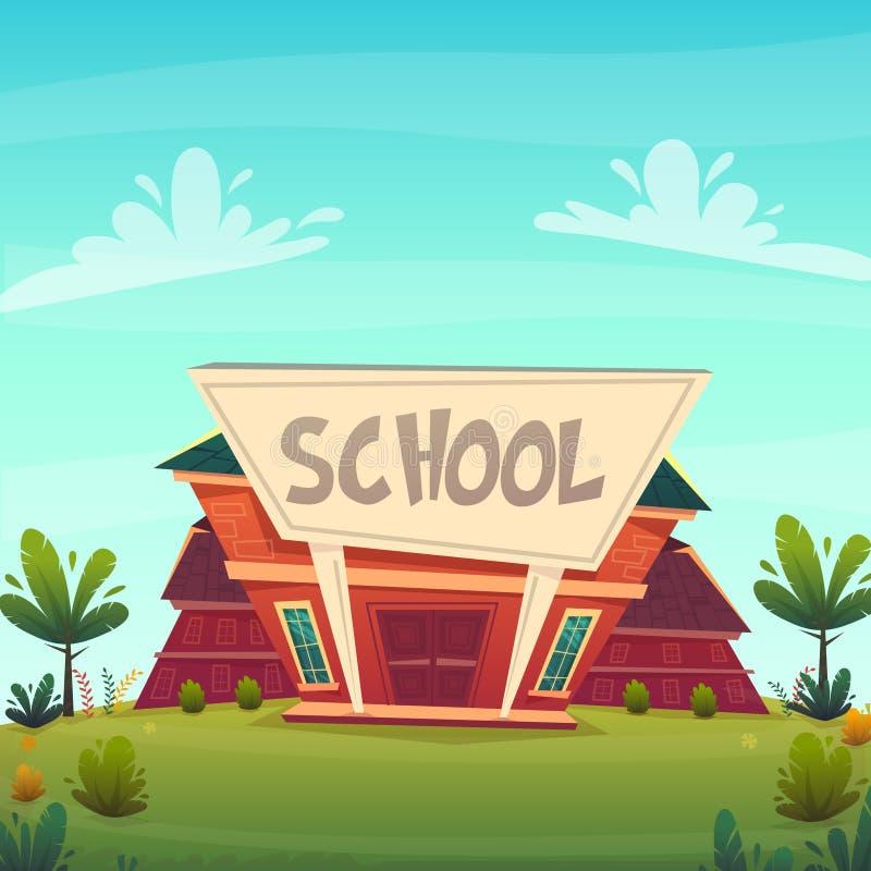 De volta à ilustração da escola estilo feliz engraçado de construção dos desenhos animados do fasade da educação da rua Ilustraçã ilustração stock