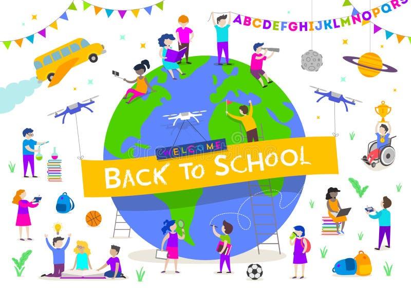 De volta à ilustração da escola Grupo de crianças ativas em torno de um globo gigante Caráteres das crianças que fazem atividades ilustração stock