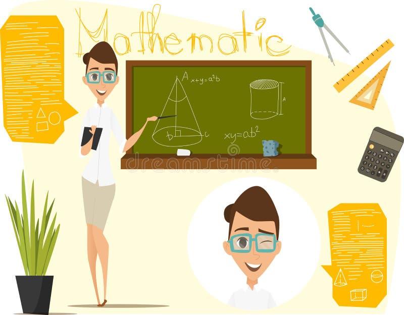 De volta à ilustração do vetor da escola Lição da matemática Matemática de Infographics Eps 10 ilustração do vetor