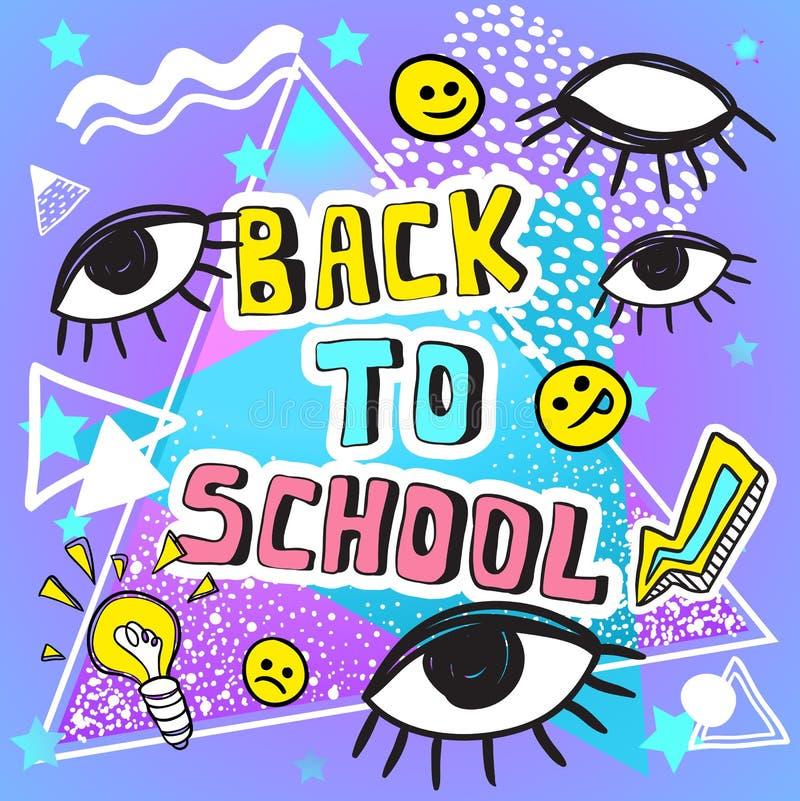 De volta à ilustração engraçada do vetor da escola Arte finala colorida do estilo da garatuja com símbolos do vintage 80s e 90s M ilustração do vetor