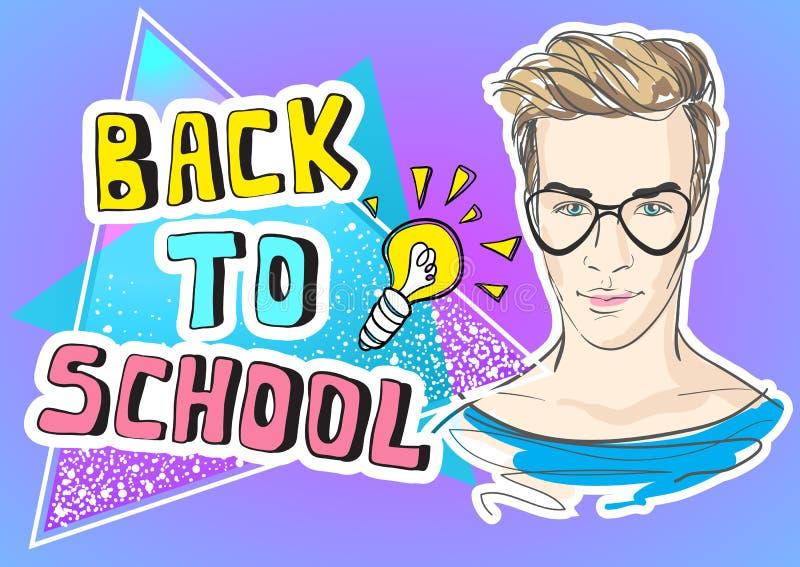 De volta à ilustração engraçada do vetor da escola Rabiscar a arte finala colorida do estilo com símbolos na moda do adolescente  ilustração do vetor