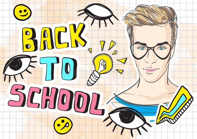 De volta à ilustração engraçada do vetor da escola Rabiscar a arte finala colorida do estilo com símbolos na moda do adolescente  ilustração royalty free