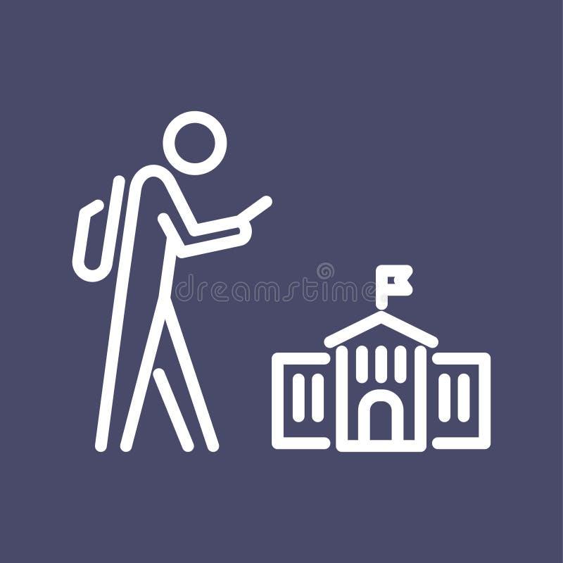 De volta à ilustração lisa simples do esboço do estilo do ícone da escola ilustração do vetor