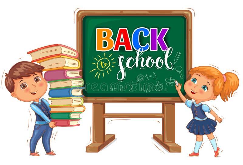 De volta à inscrição da escola no quadro-negro e nas crianças bonitos ilustração royalty free