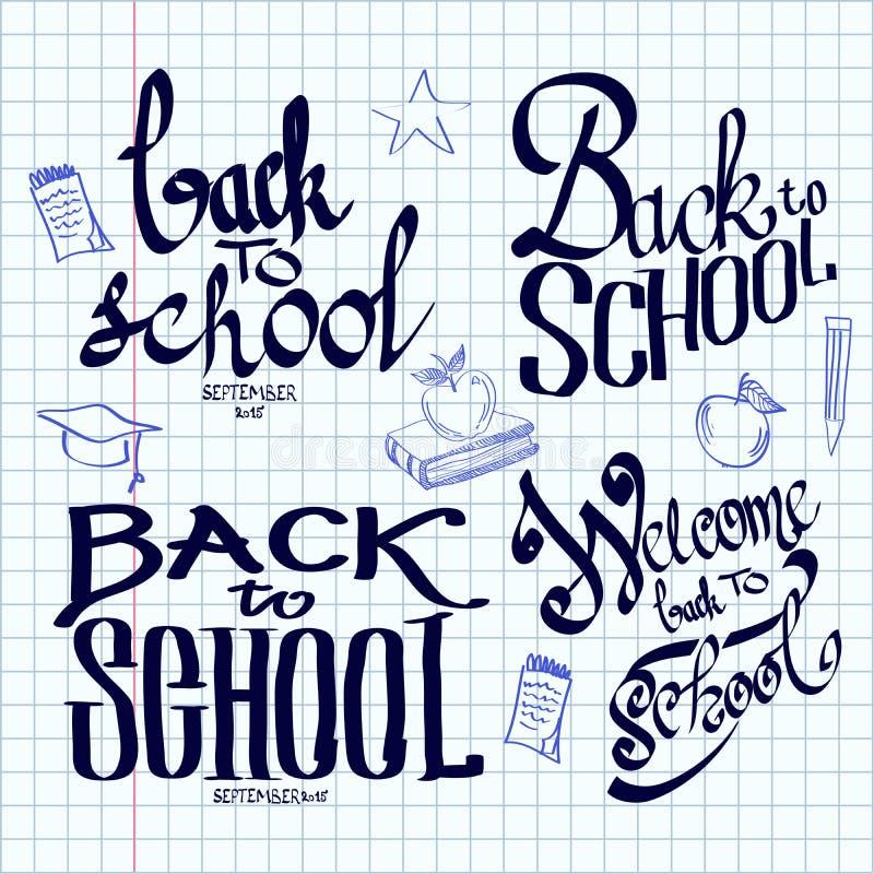 De volta à rotulação da escola e caligráfico na ilustração do vetor