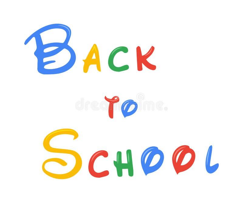 De volta à rotulação do texto de escola Isolado no fundo branco Ilustração do vetor ilustração stock