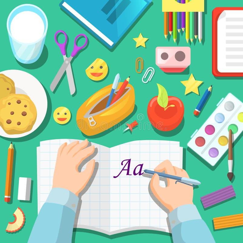 De volta à tabela dos alunos com bloco de notas e artigos de papelaria do desenho ilustração royalty free