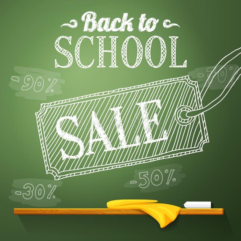 De volta à venda da escola no quadro com ilustração stock