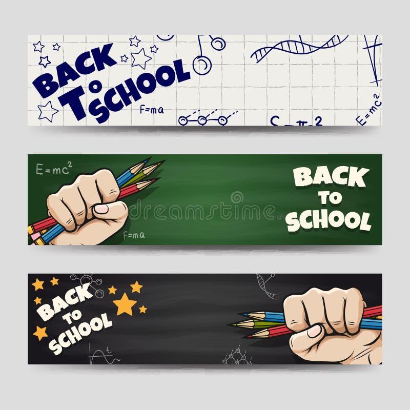 De volta às bandeiras de escola ajustadas ilustração do vetor
